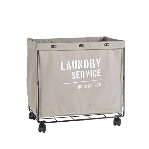Danya B Army Canvas Laundry Hamper On Wheels.