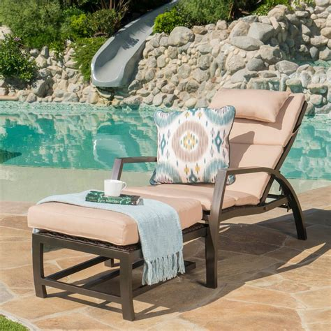 Dark Brown Wicker And Aluminum Outdoor Chaise Lounge And .