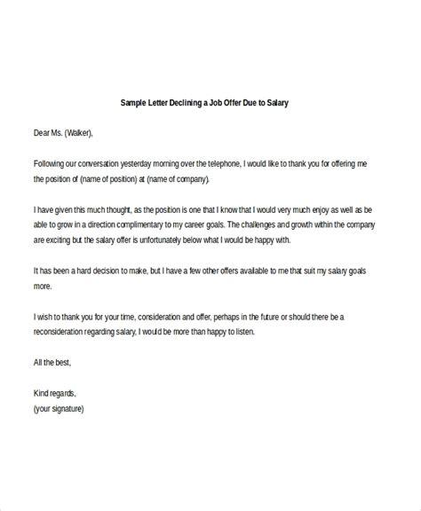 decline job offer sample letter