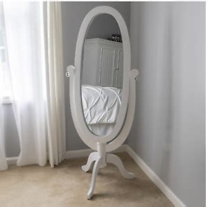 Decor Therapy Caroline Cheval Oval White Floor Mirror .