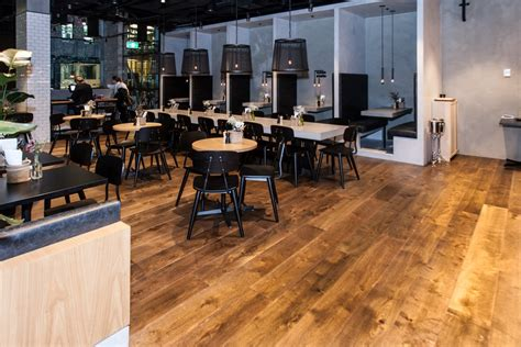 Deep Brown Engineered Oak - Bowery Lane Restaurant Sydney .