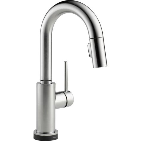 Delta Trinsic Single Handle Pull-Down Bar Faucet In Arctic .