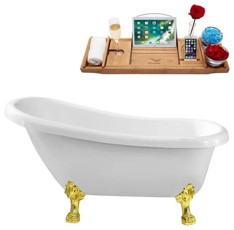 Discount 61 Soaking Clawfoot Tub With Internal Drain .