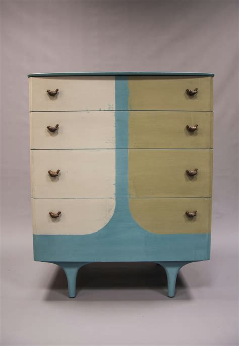 Distressed Hand Painted Chest Of Drawers