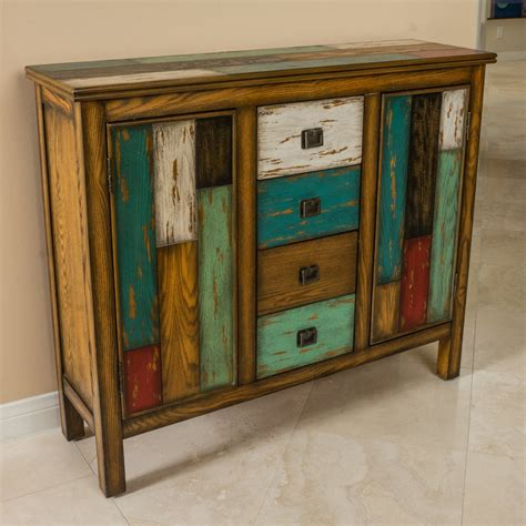 Distressed Wood Cabinet Home Storage Shelves And .