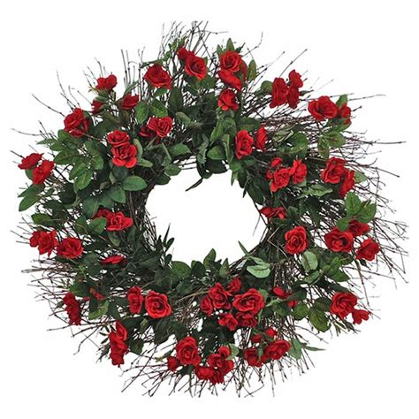 Dried Flowers And Wreaths Llc Faux Mini Red Rose 22 .