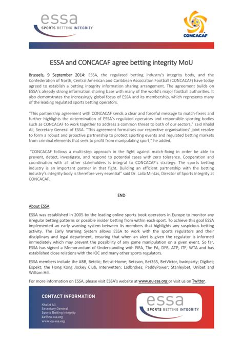 [pdf] Essa And Concacaf Agree Betting Integrity Mou.