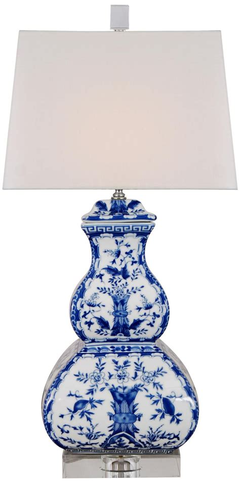 East Blue Birds Square Gourd Porcelain Table Lamp From .
