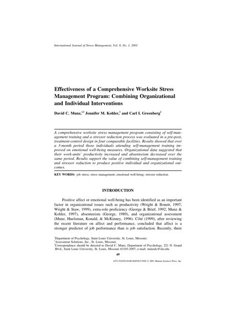 [pdf] Effectiveness Of A Comprehensive Worksite Stress .