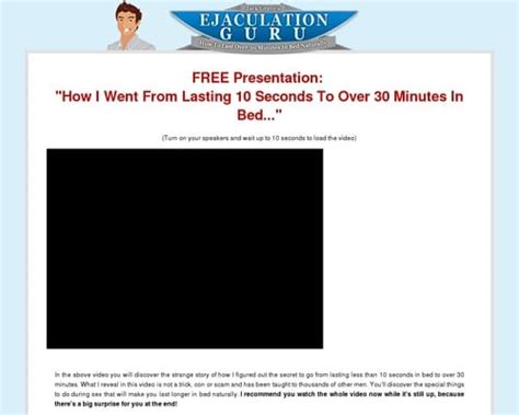 Ejaculation Guru Breakthrough Sales Video For Last Longer Niche