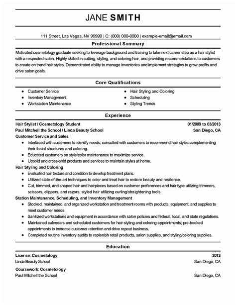 entry level resume for cosmetologist