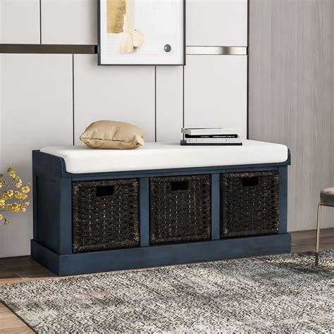 Entryway Storage Bench With Cushion