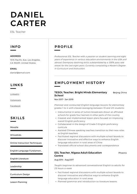 teacher resume profile