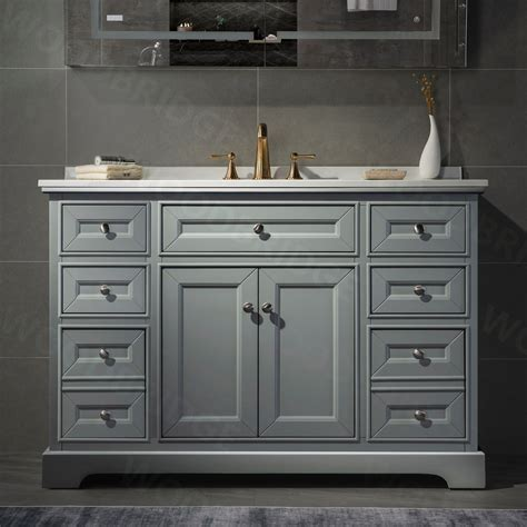 Etta Solid Wood Vanity With Mirror And Faucet Gray 60 .
