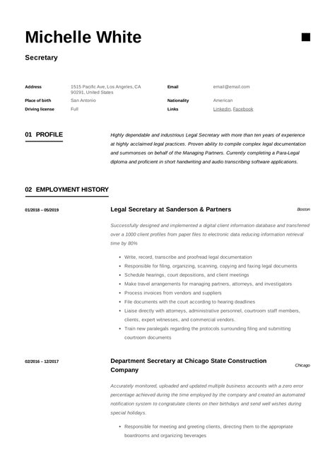 examples of secretary resumes secretary resume example sr legal