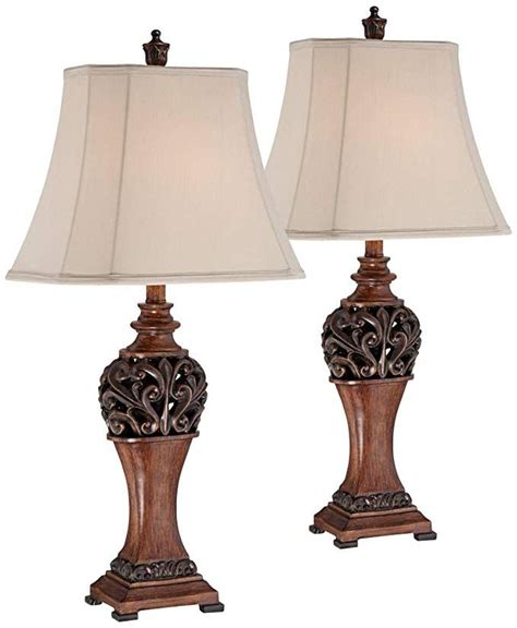 Exeter Traditional Table Lamps Set Of 2 Bronze Wood Carved .
