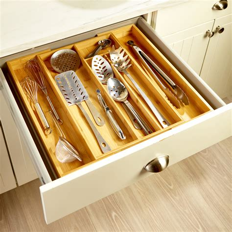 Expanding Bamboo Flatware Drawer Organizer By Lipper .