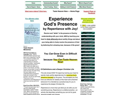 Experience God! Receive Gods Presence By Repentance With Joy!.