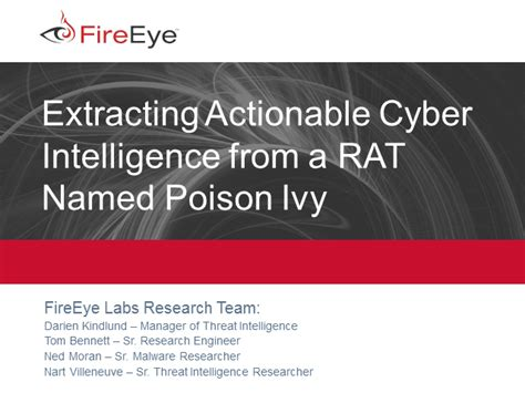Extracting Actionable Intelligence From The Poison Ivy Rat - Fireeye.