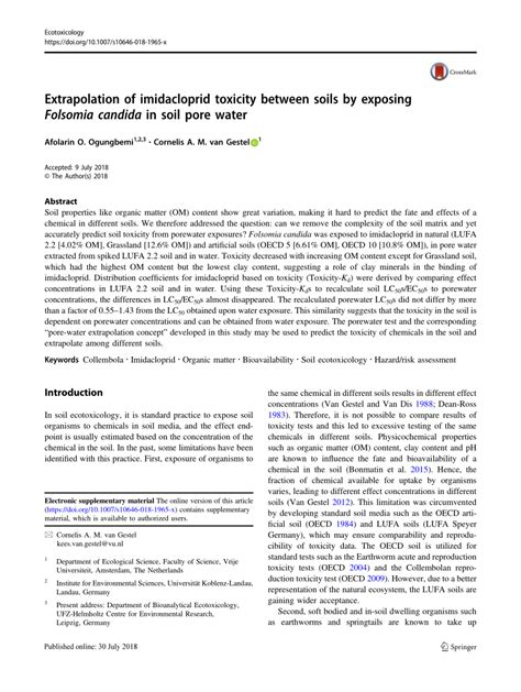 [pdf] Extrapolation Of Imidacloprid Toxicity Between Soils By .