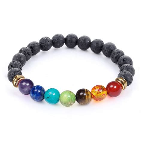 Free 7 Chakra Bracelet With Real Stones And Lava Beads.