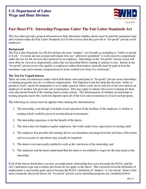 [pdf] Fact Sheet 71 Internship Programs Under The Fair Labor .