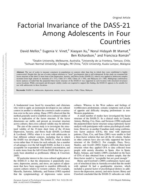 @ Factorial Invariance Of The Dass-21 Among Adolescents In .