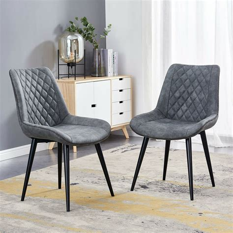 Faux Leather - Black - Dining Chairs - Kitchen  Dining .