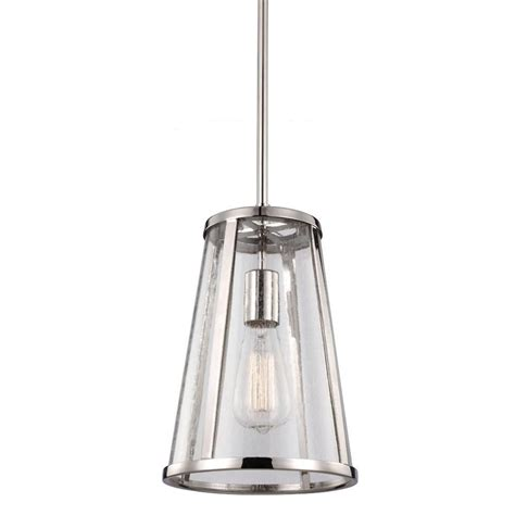 Feiss Harrow 1-Light Polished Nickel Mini Pendant-P1287pn .