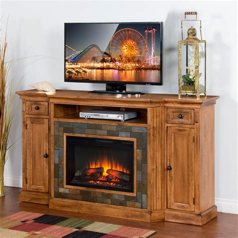 Fireplace TV Console Sedona Rustic Oak 3551r0