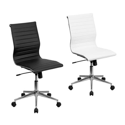 Flash Furniture Juno Mid-Back Armless Ribbed Leather .