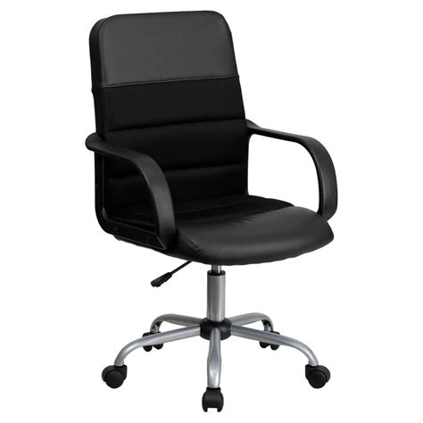 Flash Furniture Mid-Back Black Leather Swivel Task Chair .