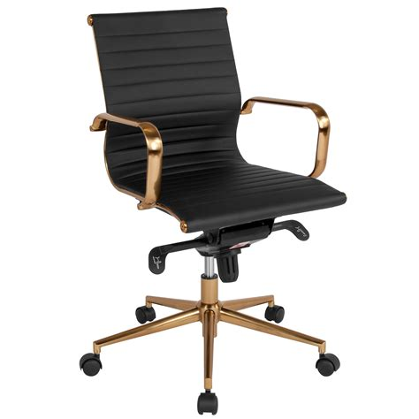 Flash Furniture Mid-Back Leather Office Chair Black .