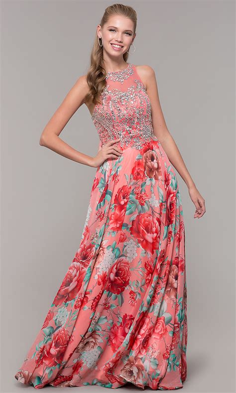 Floral Print Prom Dresses