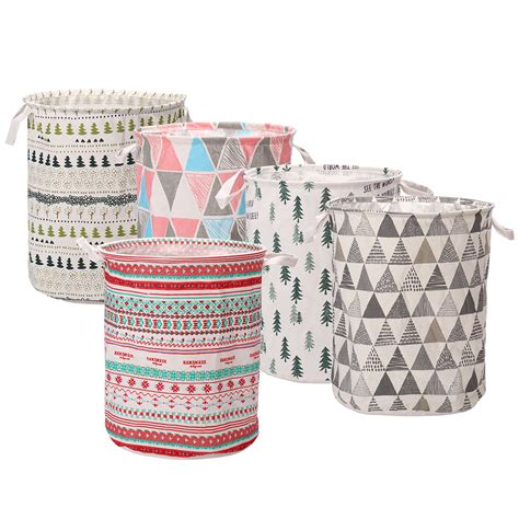 Foldable Washing Laundry Basket Hamper Cotton Linen .
