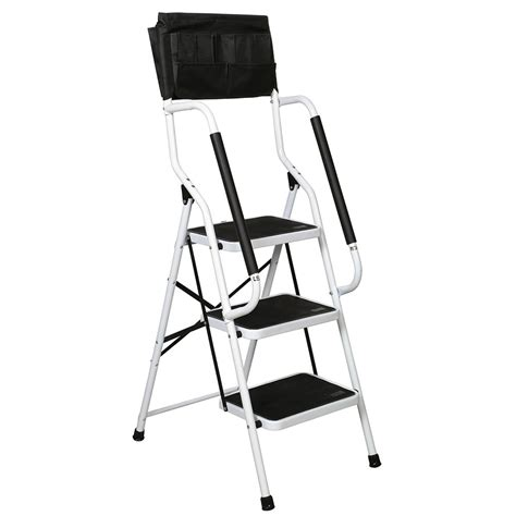 Folding 3-Step Safety Step Ladder - Padded Side Handrails .