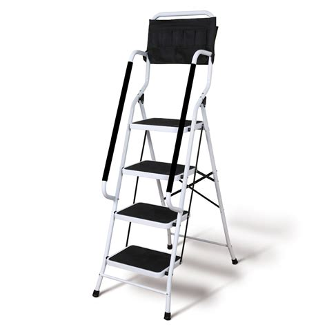 Folding 4-Step Safety Step Ladder   Padded Side Handrails .