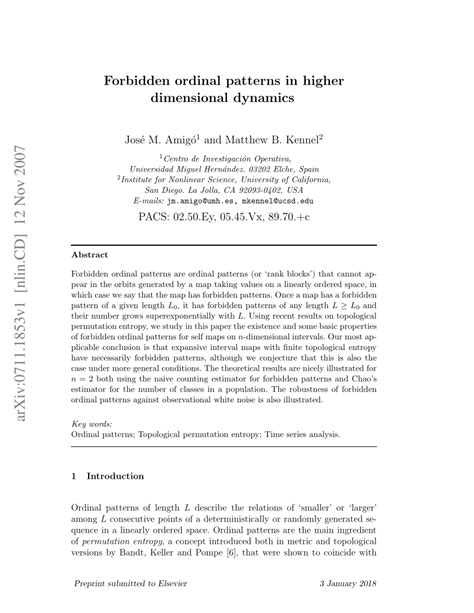 @ Forbidden Ordinal Patterns In Higher Dimensional Dynamics .