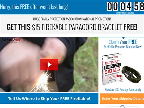 Free Firekable Paracord Bracelet Offer - Survival Life Impudence.