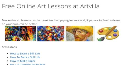 Free Online Art Lessons At Artvilla.