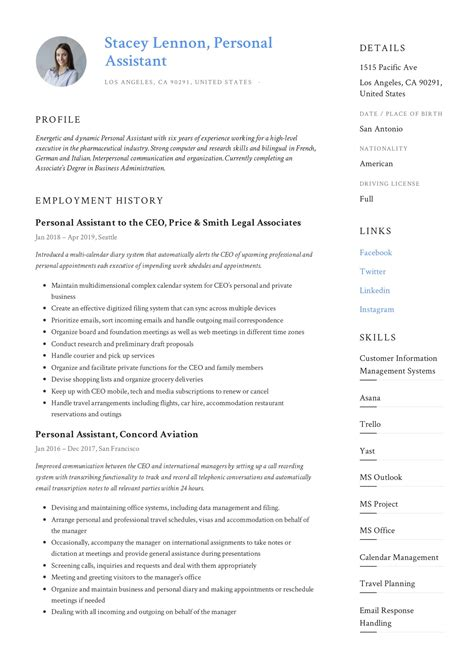 free sample resume personal assistant resume templates microsoft free sample resume personal assistant