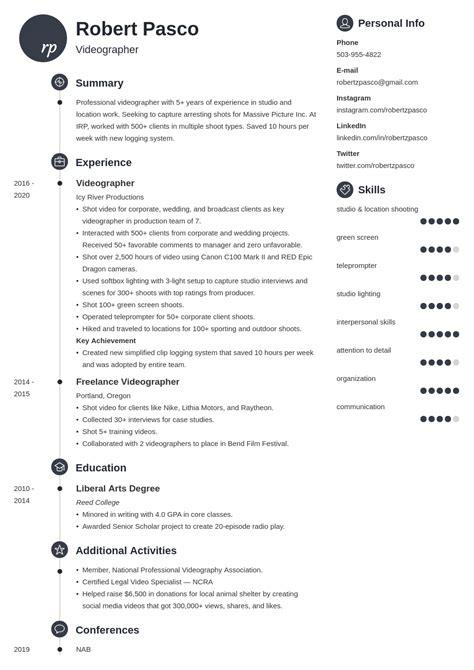 free videographer resume template - Videographer Resume Sample