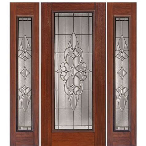 Full Lite Courtlandt Cherry Wood Grain Fiberglass Entry .