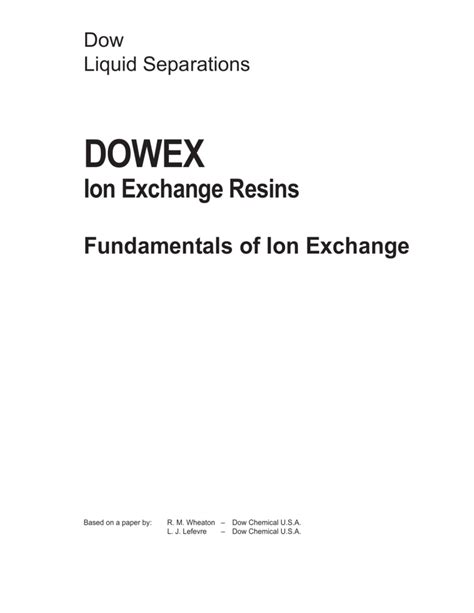 [pdf] Fundamentals Of Ion Exchange - Dow.