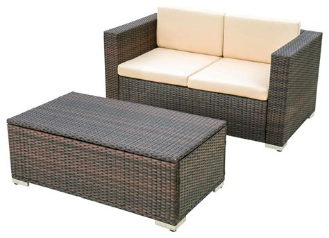 Gdfstudio Gdf Studio Westlake Outdoor Brown Pe Wicker Sofa .