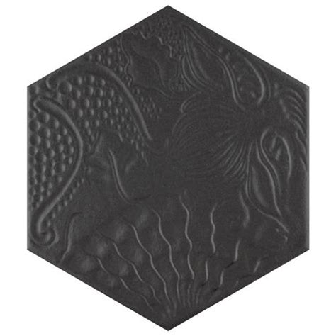 Gaudi Hex Black 8-5 8 X9-7 8 Porcelain F W Tile - Somertile.