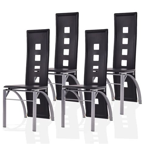 Giantex 4 Pcs Dining Chairs Pu Leather Steel Frame High .