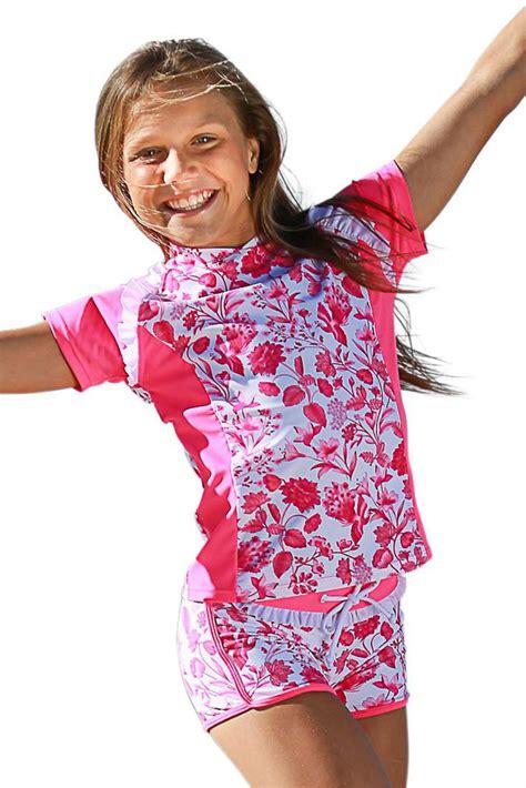 Girls Swim Shirts and Shorts