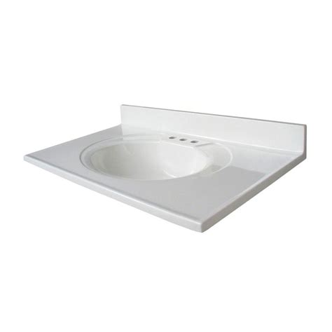 Glacier Bay Newport 37 In Cultured Marble Vanity Top With .