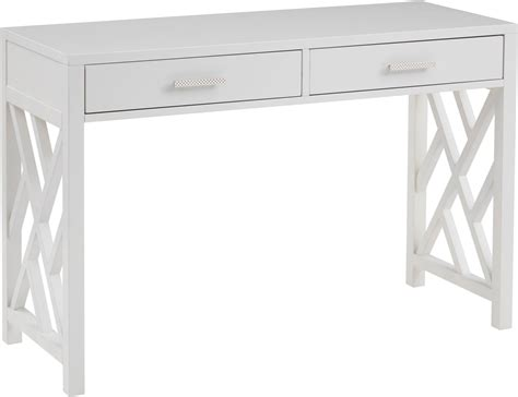 Glam Lattice White 2 Drawer Wooden Desk From Pulaski .